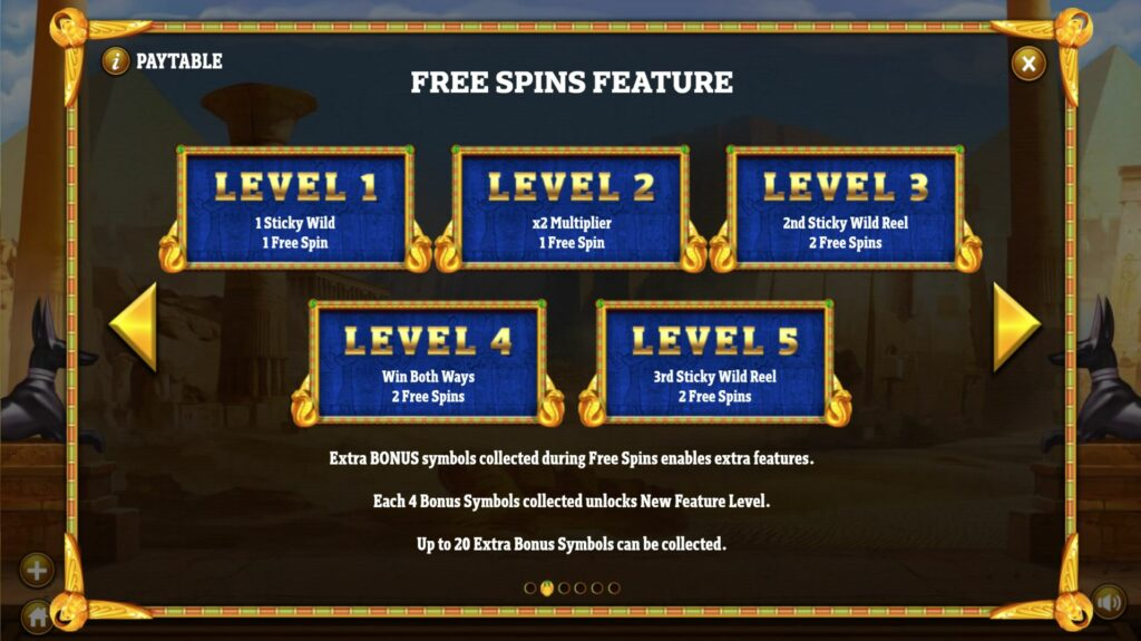 Cleopatra's Fortune Free Spins Paytable