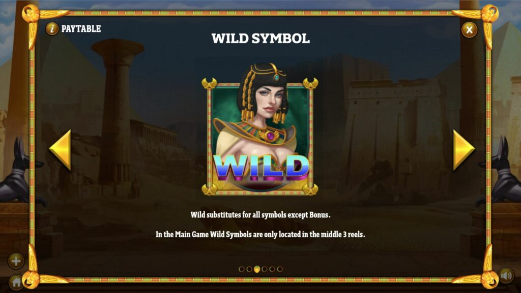 Cleopatra's Fortune Wild Symbol Paytable