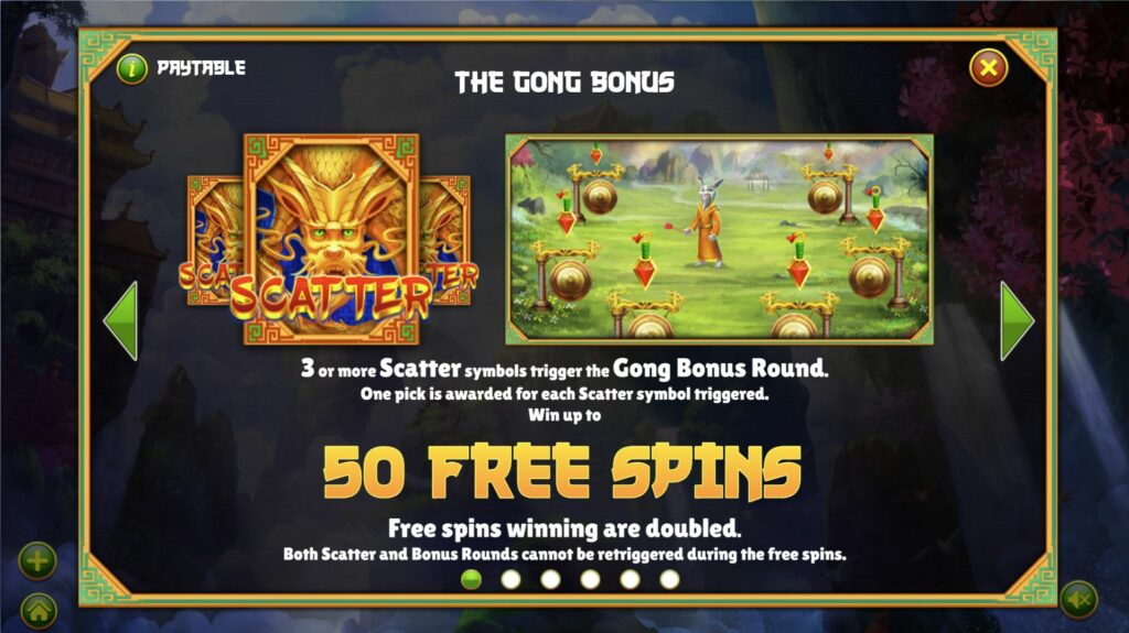 Mythical Creatures Free Spins Paytable
