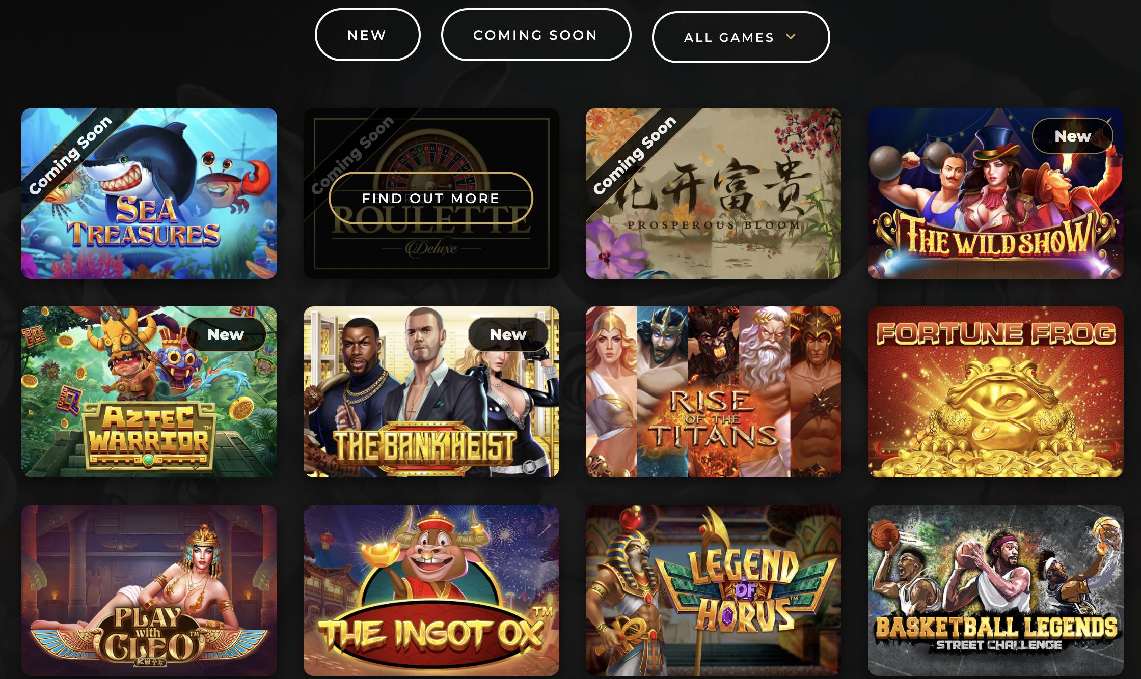 dragon gaming games page screenshot